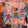 Fabrikation #6 - 2015 - Acryl/Tinte/ Glitterpigmente/ Materialien/ Filzstift auf Leinwand - 50 x 50 cm (XL, Tiefe:4,5 cm)